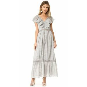 J.O.A. Los Angeles Gray Swiss Dot Maxi Dress